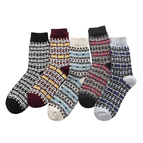 Witou Paquete de 5 for Mujer de algodón Calcetines de la Vendimia Suave Invierno frío Caliente Calcetines de Punto de Lana impresión de la Raya Caliente Suave Calcetines completos, Comodidad y Ocio