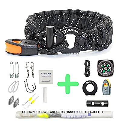Paracord Bracelet Survival Gear   550 Premium Black Reflective Parachute   Outdoor Emergency First Aid Tool Kit 19 in 1 Compass, Fire Starter, Emergency Knife, Whistle, Rescue Rope & Food Fishing from Diroca Group LLC