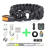 Paracord Bracelet Survival Gear | 550 Premium Black Reflective Parachute | First Aid Kit 19 in 1 Compass, Fire Starter, Knife, Whistle, Rescue Rope & Fishing Tools - Outdoor Hiking Camping Hunting