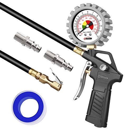 oasser Reifenfüller Reifendruckmesser 170 PSI 12 Bar Reifendruckprüfer mit US&EU Standard Schnellkuplungen für Auto Motorrad Fahrrad