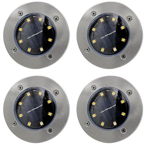 BlackEdragon - Juego de 4 lámparas solares LED impermeables para exteriores