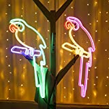 LOVSE LED Loro luz de neón plástico Duradero Loro luz de neón Impermeable Colorido Loro lámpara al Aire Libre Parque jardín