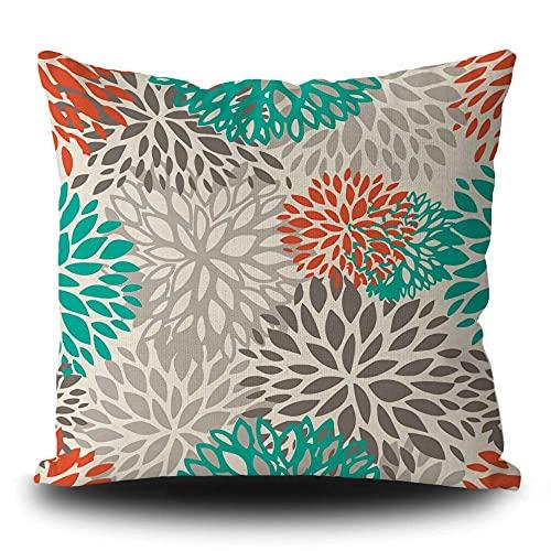 Fundas de almohada decorativas para decoración del hogar, cuadrada, 40,6 x 40,6 cm, color naranja, gris, turquesa, color naranja