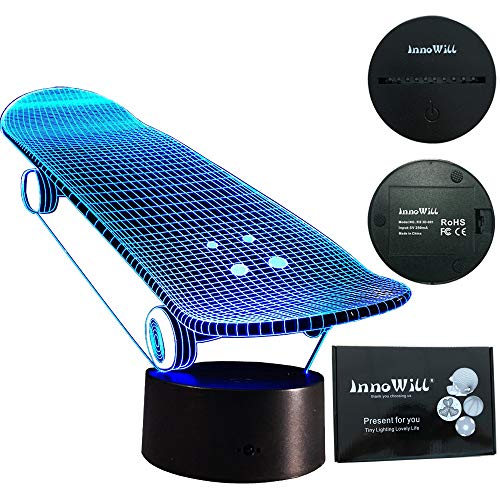 InnoWill Skateboard Geschenke LED Lampe USB und Batteriebetriebene 7Colors
