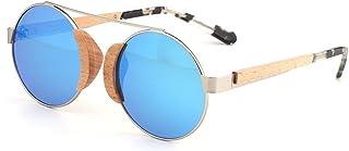 Fashion Bamboo Wood Glasses Polarized Sunglasses Mirror Frame UV400 Blue Brown Round Ladies Sunglasses Retro (Color : Blue)