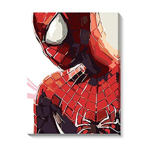 Hombre araña DIY Pintura por números DIY Pintura Al Óleo por Números Dibujo sobre Lienzo Pintar por Numeros para Adultos La Vida Familiar Relajarse con Pinceles 16x20 (40x50cm)