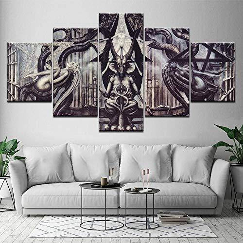 TXFMT Geen frame canvas decoratie schilderij handgemaakte DIY Canvas schilderij creatieve abstracte buitenaardse kunst 5 stuks muur kunst schilderen modulair behang poster afdrukken huisdecoratie foto's schilderijen op ca 200*100CM
