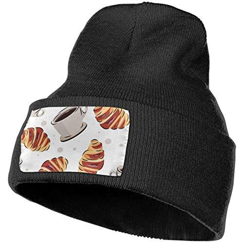 Kaffee und Croissant Muster Herren Damen Plain Manschette Serious Style Beanie Hut Schädel Serious Style Cap