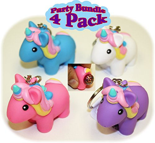 Animolds PooPoo Unicorn (Glitter Pooping Unicorns) Keychains Pink Blue Purple & White Complete Gift Set Party Bundle - 4 Pack