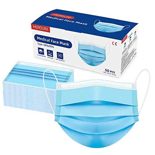 MEROURII Mundschutz Maske, Einweg Medizinische Maske Schutzmaske 50 Stück, 3-lagige Nasen Mundschutz Maske, Gesichtsmaske für Erwachsene, Gesundheitsschutz Staubmaske Blau