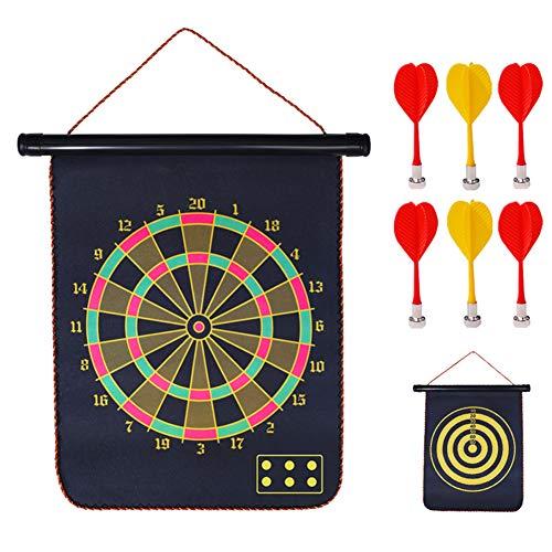 Dart Scheibe Original, Dartscheibe-Set, Magnetisches Doppelseitiges Home-Dart-Ziel FüR Kinder, Sicherheits-Dart-Spielset, EinschließLich 6 ZusäTzlicher Darts