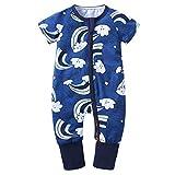 Xmiral Kleinkind Kinder Unisex Reißverschluss Cartoon Strampler Jungen Mädchen Kurzarm Overall Neugeborenen Schlafanzug Nachtwäsche(Hellblau,12-18 Monate)