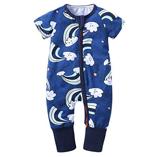 Xmiral Kleinkind Kinder Unisex Reißverschluss Cartoon Strampler Jungen Mädchen Kurzarm Overall Neugeborenen Schlafanzug Nachtwäsche(Hellblau,6-12 Monate)