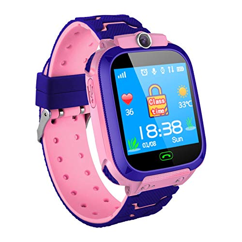 Payanwin Reloj inteligente para niños con pantalla táctil, reloj de aprendizaje electrónico, reloj de llamada inteligente, regalo para niños, color rosa
