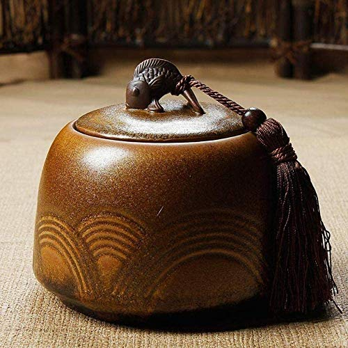 JDK Urnas de cremación para Cenizas de Adultos Cremación de cerámica El Cilindro de Cenizas de Ur, Pintado a Mano, es Adecuado para Que los Adultos muestren una pequeña...
