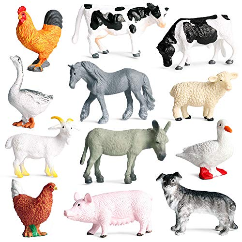 EOIVSH 12 Pack Animal Figures Playset, Plastic Assorted Realistc Small Poultry Toy Animal Figurines Set Educational Learning Model Playset with Chicken Duck Cow Sheep Horse