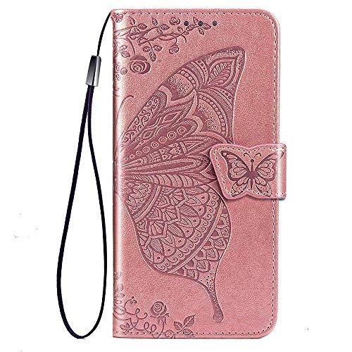 TANYO Funda para Huawei P40 Lite 5G (Not for 4G Version), Carcasa PU/TPU Flip Cuero Billetera con Efectivo y Tarjetas Ranuras, Mariposa 3D Case Cover Estuche Oro Rosa