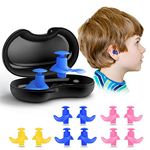 Naohiro Swimming Earplugs, 5-Pairs Pack Waterproof Reusable Silicone Swimming Ear Plugs for Swimming Showering Bathing Surfing Snorkeling and Other Water Sports,Suitable for Kids and Adults (Kid)