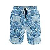 DEZIRO Blue Vector Mandala - Bañador para hombre, secado rápido 1 XL