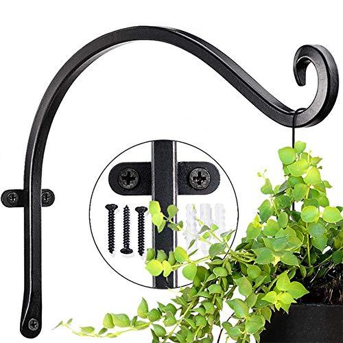 qwe 2PCS 12 Inch Hanging Basket BracketsWall Hanging Hooks Eisen Brackets Pflanzenhaken Zum Aufhängen Von Vogelhäuschen, Laternen, Schwarz (Mit Schrauben)