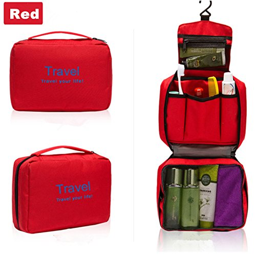 careforyou® Unisexe portable Voyage multifonction Sac étanche lavage Toilettage à suspendre Trousse de toilette Sac Voyage maquillage Make Up Case rouge 8.67''*2.76''*6.23''