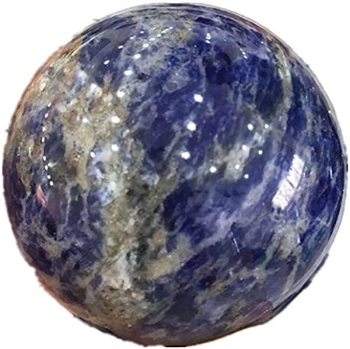 U/D Esfera de Sodalita Natural Cuarzo Piedras de Cristal y Minerales Reiki para Decoración del Hogar Piedras Decorativas KEMING (E Azul, 50-55mm)