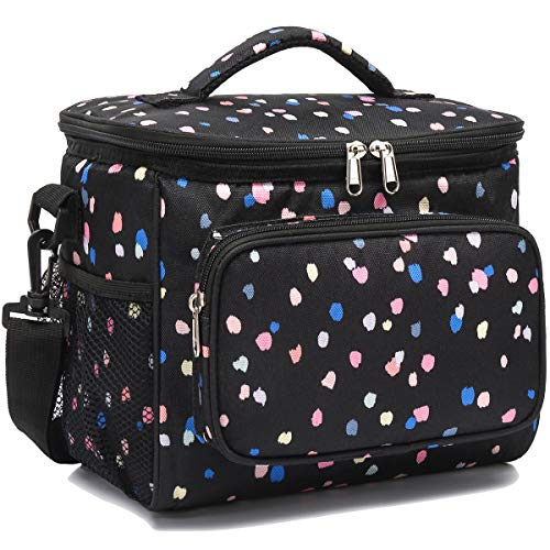 Insulated Reusable Lunch Bag Adult Large Lunch Box for Women and Men with Adjustable Shoulder Strap,Front Zipper Pocket and Dual Large Mesh Side Pockets by FlowFly,Flower