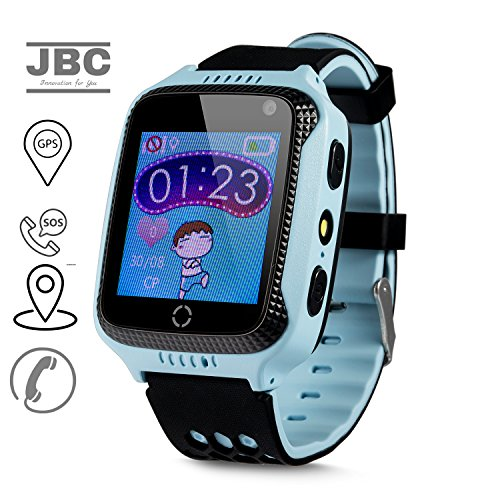 JBC GPS Uhr Kinder Telefon Uhr smartwatch Fuer Kinder kinderuhr mit GPS ohne Abhörfunktion/mit sicherem Deutschen Server, SOS Notruf+Telefonfunktion/Anleitung+Uhr+App+Support: Deutsch (Blau)
