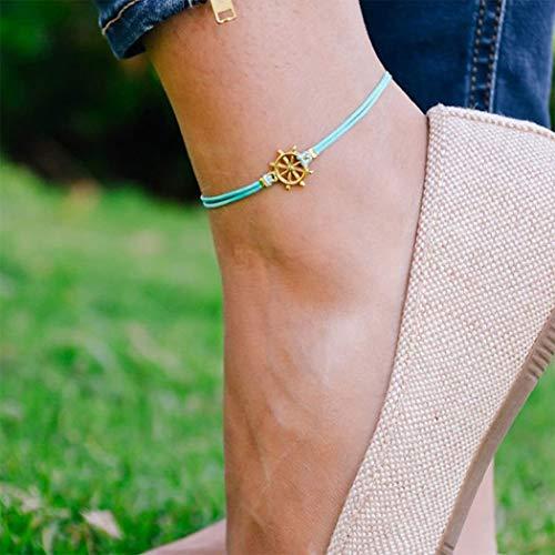 Yienate Bracelet de cheville Boho simple gouvernail pour femme et fille