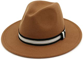 Bin Zhang Classial Men Women Fedora Hat With Striped Satin Panama Jazz Hat Pop Hat Size 56-58CM