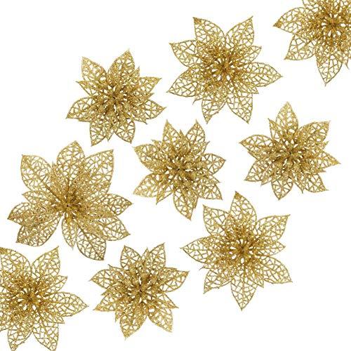 Naler 24 Flores Artificiales Decorativas Navidad Poinsettia Artificial de Purpurina Adorno de Árbol de Navidad (Dorado, 8cm, 10cm, 15cm)