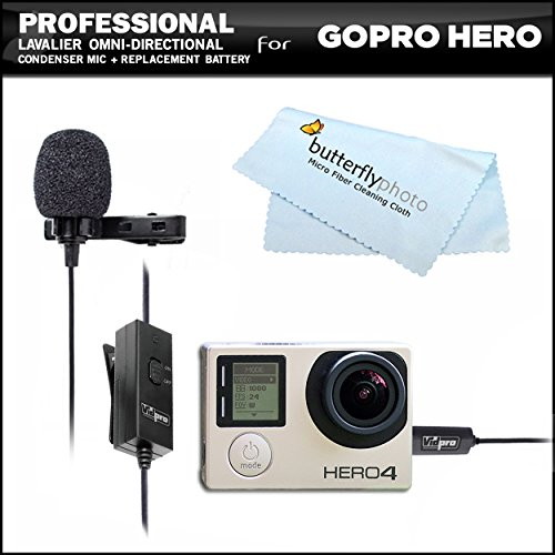 Professional Lavalier (lapel) Omni-directional Condenser Microphone - 20 foot Audio Cable + 3.5mm Mic Adapter For GoPro HD Hero, Hero3, Hero3+, GoPro HERO4 Silver, GoPro HERO4 Black Action Camera
