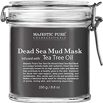 Majestic Pure Dead Sea Mud Mask Infused With Tea Tree Oil - Supports Acne Prone and Oily Skin, for Women and Men - Fights Whitehead and Blackhead - Helps Reduce the Appearances of Scars - 8.8 oz from Majestic Pure