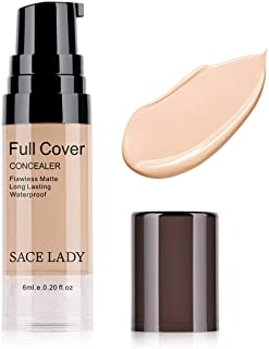 Pro Full Cover Liquid Concealer, Waterproof Smooth Matte Flawless Finish Creamy Concealer Foundation for Eye Dark Circles ...