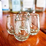 Mexican Shot Glasses   Hand-Blown, Artisan Crafted   Barrel Design   Perfect for Tequila or Mezcal   2 oz.   Set of 4