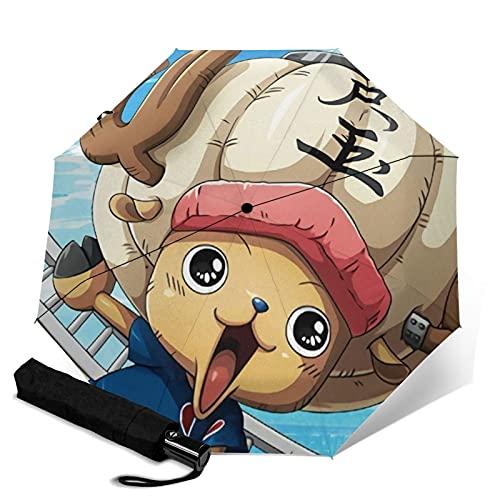 Anime ONE PIEZA Tony Chopper Paraguas automático de tres pliegues paraguas de viaje portátil con asa para adultos y niños unisex