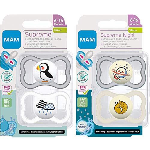 MAM SkinSoft Silikon Dental Schnuller Supreme, 4er Pack uni, 6-16 Monate, haut- und zahnfreundlicher Schnuller