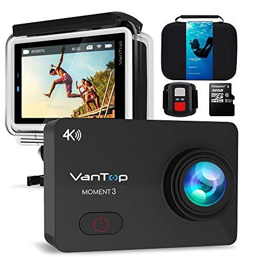 VanTop Moment 3 Action Cam 4K WiFi Sports Kamera Helmkamera 16MP Wasserdicht Unterwasserkamera Ultra HD 2.26' LCD 170° Weitwinkelobjektiv 32 GB TF-Karte mit 2 Batterien und Kostenlose Zubehör Kits