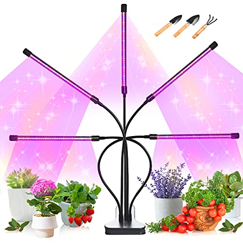Gardguard Led Grow Light 5 Heads Sunlight Full Spectrum Growing Lamp with Red Blue 4/8/12H Timer, 10 Dimmable Levels & 5 Switch Modes Indoor House Plant Light, Adjustable Gooseneck Plant Grow Light