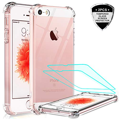 iPhone se Case, iPhone 5s Case, iPhone 5 Case with Tempered Glass Screen Protector [2 Pack], LeYi Silicone Shockproof Crystal Clear Hard PC Full-Body Slim Protective Phone Cases for iPhone 5/5s/se/se2