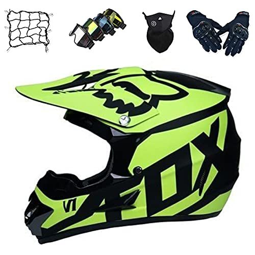 Kids Motorbike Helmet, YEDIA-01 Adult Full Face MTB Helmet Set with Goggles/Mask/Gloves/Bungy Net, Unisex Motorcycle Crash Helmet for Downhill MX ATV Scooter - with FOX Design,L