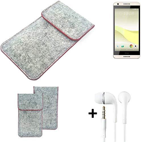 K-S-Trade® Handy Schutz Hülle Für HTC Desire 650 Schutzhülle Handyhülle Filztasche Pouch Tasche Hülle Sleeve Filzhülle Hellgrau Roter Rand + Kopfhörer