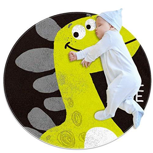 Haminaya Runder, rutschfester Kinderteppich, kreisförmiger Teppich, maschinenwaschbarer Teppich, niedlicher Dinosaurier, cooler Dude