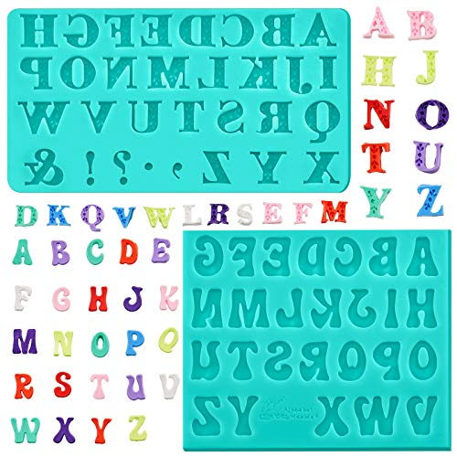 2 Pieces Letter Chocolates Molds Alphabet Silicone Fondant Molds Baking Letter Moulds for Halloween Making Candy, Cake, Pudding, Soap (Green)
