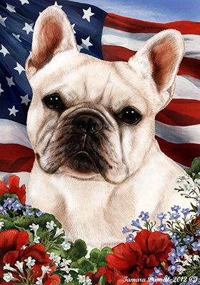 Best of Breed French Bulldog White Patriotic Large Flags