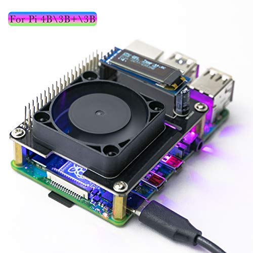 Yahboom Raspberry Pi 4B 3B+ 3B Cooling Fan Intelligent Temperature Control I2C OLED Display Programmable RGB Light(Quiet)