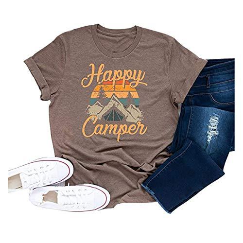 DORFALNE Women's Happy Camper Graphic Printing Tees Summer Round Neck Short Sleeve T-Shirts Tops Khaki