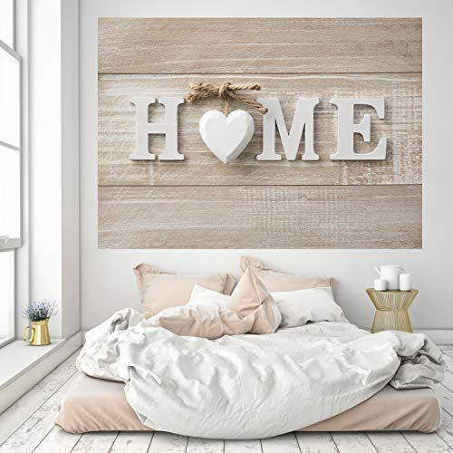 Murimage fotobehang Home 3D 183 x 127 cm houten bord shabby chic bruin beige hart woonkamer slaapkamer keuken inclusief behanglijm