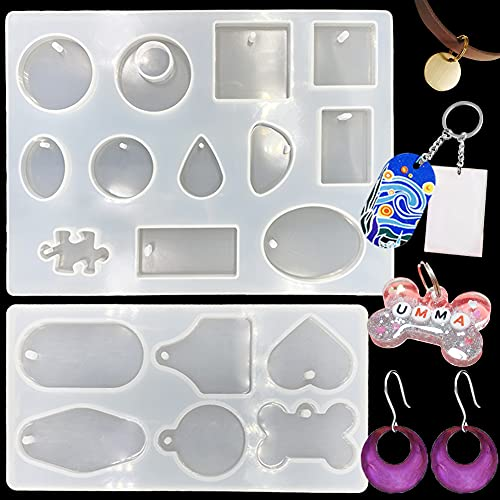 GeoGeoDIY2 Pieces Keychain Resin Mold Dog Tag Resin Mold with 20Pcs KeyRings, Pet Identity Tag Casting Mold for DIY Keychain Jewelry Decoration