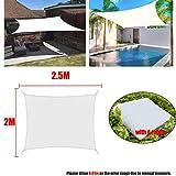 Blanco 300D Impermeable Poliéster Cuadrado Rectángulo Sombra Vela Jardín Terraza Marquesina Natación Sombrilla Camping Patio Vela toldo-2x2.5m